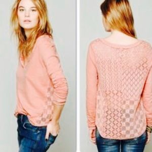 Free People Dusty Rose Long Sleeve T Crochet Back